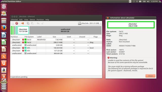 Guida per l'utilizzo di GParted: Come visualizzare il supporto dei file system.