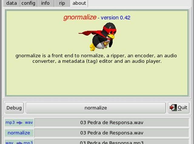 Gnormalize convertitore audio, encoder, ripper, con editor per i metadati.