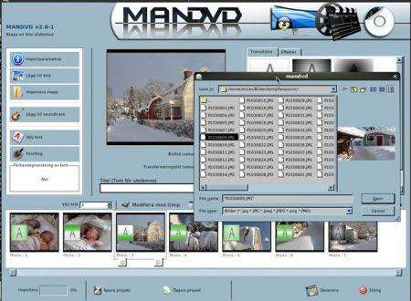 ManDVD permette la facile creazione di un DVD video, con tanto di menu introduttivo.