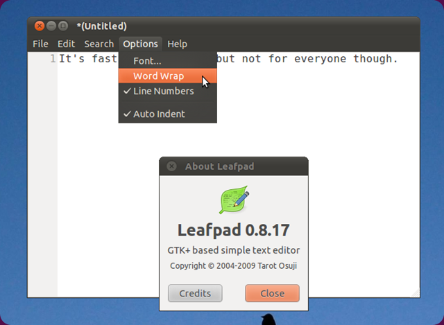 leafpad in ubuntu 11.04 screenshot